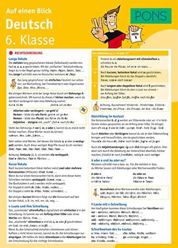 9783125617131: PONS Deutsch 6. Klasse auf einen Blick: Die kompakte Übersicht für das ganze Schuljahr. 6 Seiten laminiert zum Aufklappen