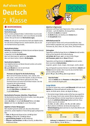 9783125617148: PONS Deutsch 7. Klasse auf einen Blick: Die kompakte Übersicht für das ganze Schuljahr. 6 Seiten laminiert zum Aufklappen