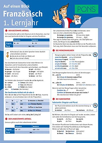 9783125617186: PONS Französisch 1. Lernjahr auf einen Blick: Die kompakte Übersicht für das ganze Schuljahr. 6 Seiten laminiert zum Aufklappen