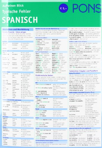 9783125617698: PONS Auf einen Blick Typische Fehler Spanisch: Alle wichtigen Regeln - einfach und verständlich