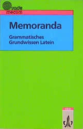 9783126152006: Memoranda. Grammatisches Grundwissen Latein. (Lernmaterialien)