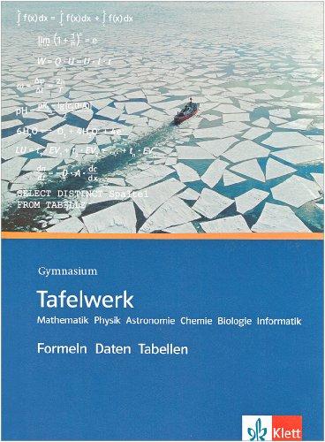 9783127185126: Tafelwerk. Mathematik, Physik, Astronomie, Chemie, Biologie, Informatik. Gymnasium: Formeln, Daten, Tabellen