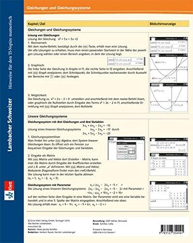9783127354041: Lambacher-Schweizer Klappkarte für TI-Nspire numerisch