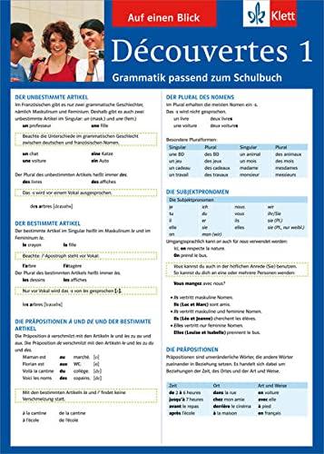 9783129260685: Découvertes 1 Grammatik passend zum Schulbuch