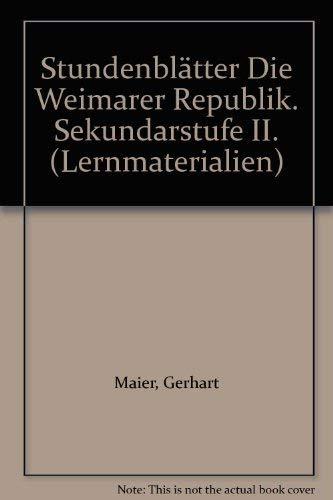 9783129278468: Stundenblätter Die Weimarer Republik