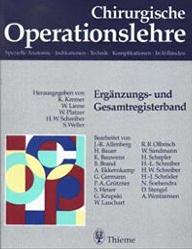 9783131118110: Chirurgische Operationslehre. Ergänzungs- und Gesamtregisterband.