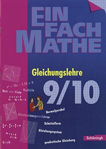 9783140373159: EinFach Mathe. Gleichungslehre 2: Jahrgangsstufe 9/10