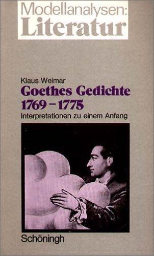 9783140750493: Modellanalysen Literatur, Bd.9 : Goethes Gedichte 1769-1775