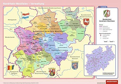 9783143030318: Posterkarten Geographie 07. Nordrhein-Westfalen: physisch / politisch