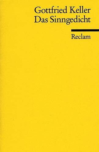 Sinngedicht (German Edition) (3150061938) by Keller