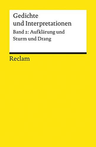 9783150078914: Gedichte und Interpretationen 2. Aufklärung und Sturm und Drang