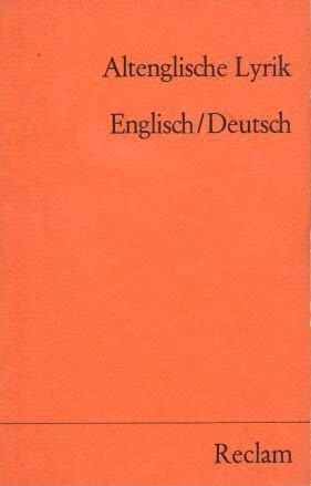 9783150079959: Altenglische Lyrik: Englisch und deutsch (Universal-Bibliothek)