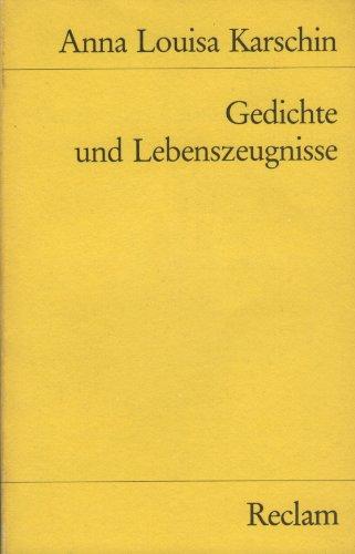 9783150083741: Gedichte und Lebenszeugnisse
