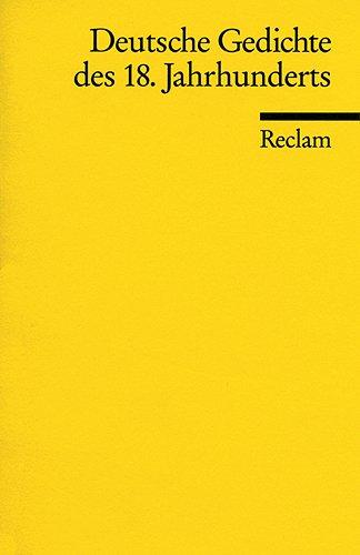 9783150084229: Deutsche Gedichte des 18. Jahrhunderts