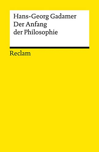 9783150094952: Der Anfang Der Philosophie