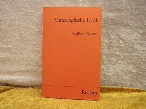 9783150099858: Mittelenglische Lyrik. Engl./dt