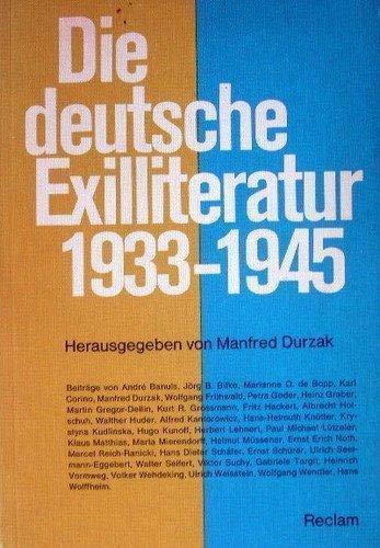 DIE DEUTSCHE EXILLITERATUR 1933-1945: Durzak, Manfred (Hrsg.)