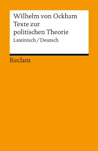 9783150190883: Texte zur politischen Theorie: Exzerpte aus dem Dialogus. Lateinisch/Deutsch