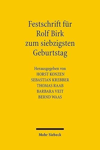 Festschrift für Rolf Birk zum siebzigsten Geburtstag: Horst Konzen
