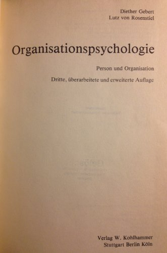 9783170120099: Organisationspsychologie. Person und Organisation