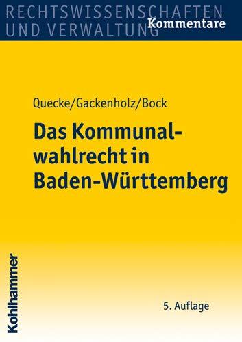 9783170196414: Das Kommunalwahlrecht in Baden-Württemberg