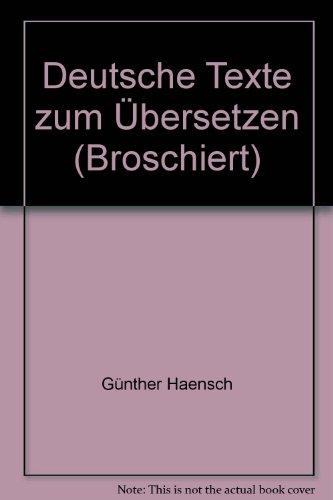 9783190010509: Deutsche Texte zum Übersetzen