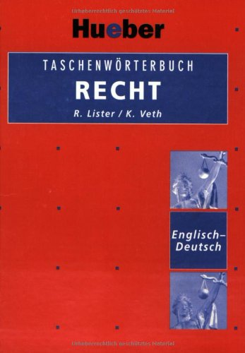 9783190062782: Hueber Dictionaries and Study-AIDS: Taschenworterbuch Recht Englisch - Deutsch