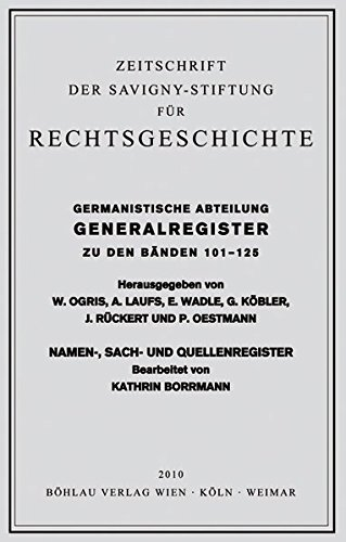 Gesamtregister der Bände 101-125 der Germanistischen Abteilung der Zeitschrift der ...