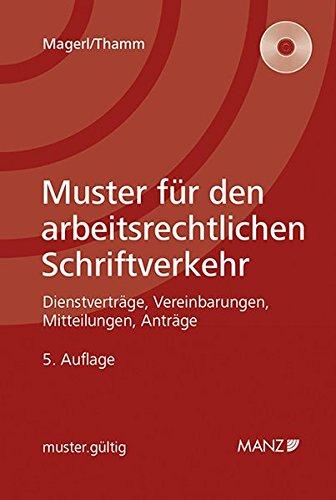 9783214011123: Muster für den arbeitsrechtlichen Schriftverkehr: mit compact disc