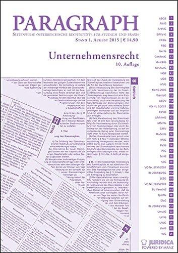 9783214011833: Unternehmensrecht (Österreichisches Recht): Paragraph. Seitenweise österreichische Rechtstexte für Studium und Praxis