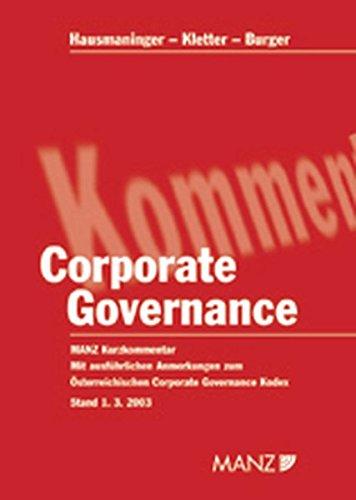Corporate Governance. (Österreichisches Recht): Ernst Burger