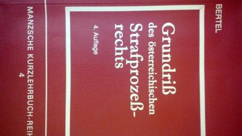 9783214148355: Grundriss des österreichischen Strafprozessrechts