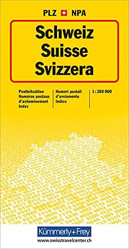 9783259001004: Karte der Schweiz und von Liechtenstein mit Postleitzahlen, 1:300 000 =: Carte de la Suisse et du Liechtenstein avec numéros postaux d'acheminement, ... d'avviamento, 1:300 000 (German Edition)