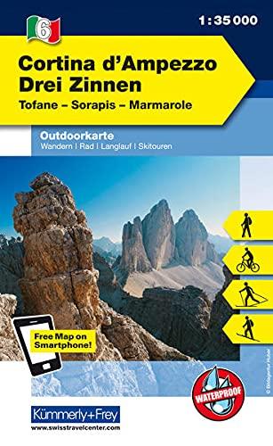 9783259007051: KuF Italien Outdoorkarte 06 Cortina d'Ampezzo Drei Zinnen 1 : 35.000: Tofane, Hohe Gaisl, Marmarole. Wanderwege, Radwanderwege, Nordic Walking, Skilanglauf, Skitouren