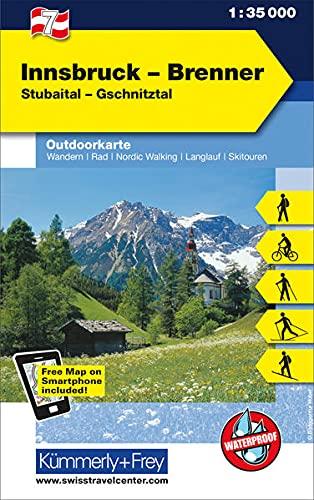 9783259007167: KuF Österreich Outdoorkarte 07 Innsbruck - Brenner 1 : 35 000: Stubaital - Gschnitztal