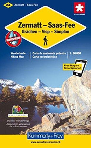 9783259008881: KuF Schweiz Wanderkarte 24 Zermatt / Saas Fee / Grächen / Visp / Simplon 1 : 60 000: Walliser Wanderwege