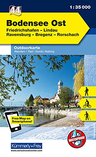 9783259009000: KuF Deutschland Outdoorkarte 44 Bodensee Ost 1:35.000: Friedrichshafen, Lindau, Ravensburg, Bregenz, Rorschach. Wanderwege, Radwanderwege, Nordic Walking