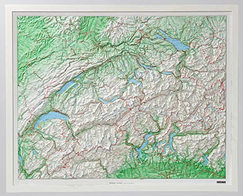 Kunststoffrelief Schweiz 1 : 500 000. Weiß Holz