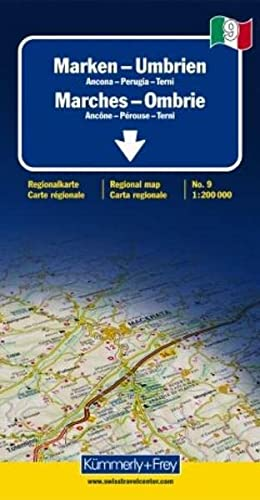 9783259013892: Marches - Ombrie (Ancône, Pérouse, Terni) - Carte régionale Italie (échelle : 1/200 000)
