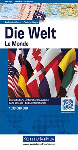 9783259040195: World - Monde - Welt political with flags 2016