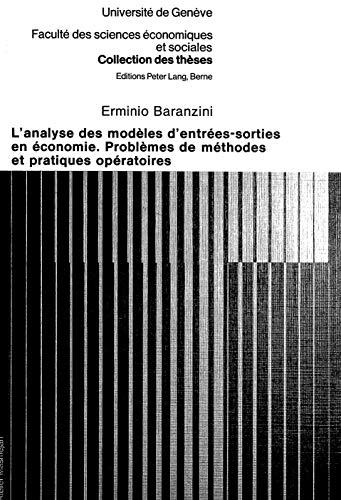 L'analyse des modèles d'entrées-sorties en économie Problèmes...
