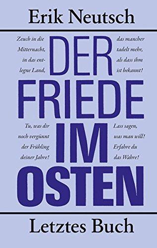 9783360021823: Der Friede im Osten: Letztes Buch
