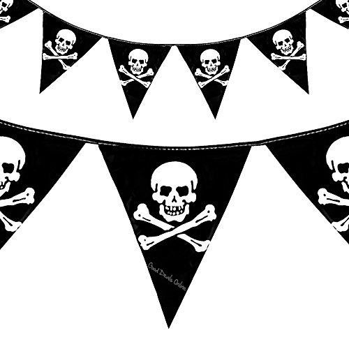 9783362641951: Pirate Skull Crossbones Bunting Flags Party Decoration - 12Ft - Kids Happy birthday party pirates of the Caribbean accessory theme Special Occasion (3 Sets of Flags)