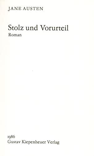 9783378001152: Stolz und Vorurteil. Roman