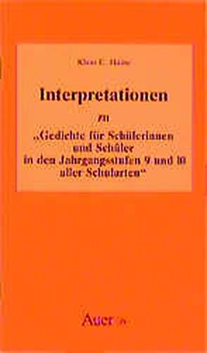 9783403018650: Interpretationen zu ' Gedichte für Schülerinnen und Schüler in den Jahrgangsstufen 9 und 10 aller Schularten'. (Lernmaterialien)