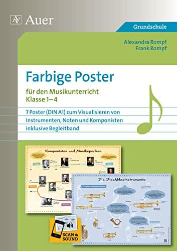 9783403073291: Farbige Poster für den Musikunterricht: 7 Poster (DIN A1) zum Visualisieren von Instrumenten, Noten und Komponisten, inklusive Begleitband (1. bis 4. Klasse)