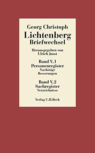 Briefwechsel. Register. Band V in 2 Bänden: Georg Christoph Lichtenberg