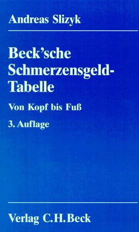 9783406421785: Beck'sche Schmerzensgeld-Tabelle. Von Kopf bis Fuss. Basisdaten von mehr als 2200 Schmerzensgeld-Entscheidungen mit systematischer Kommentierung des § 847 BGB