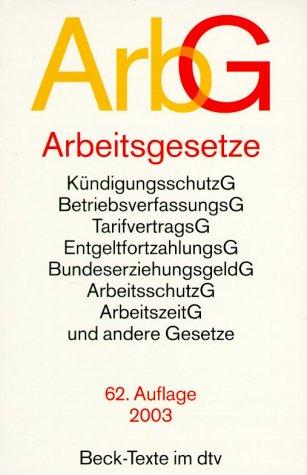 9783406501883: Arbeitsgesetze ( ArbG).