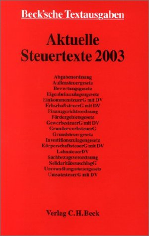 9783406506079: Aktuelle Steuertexte 2003.